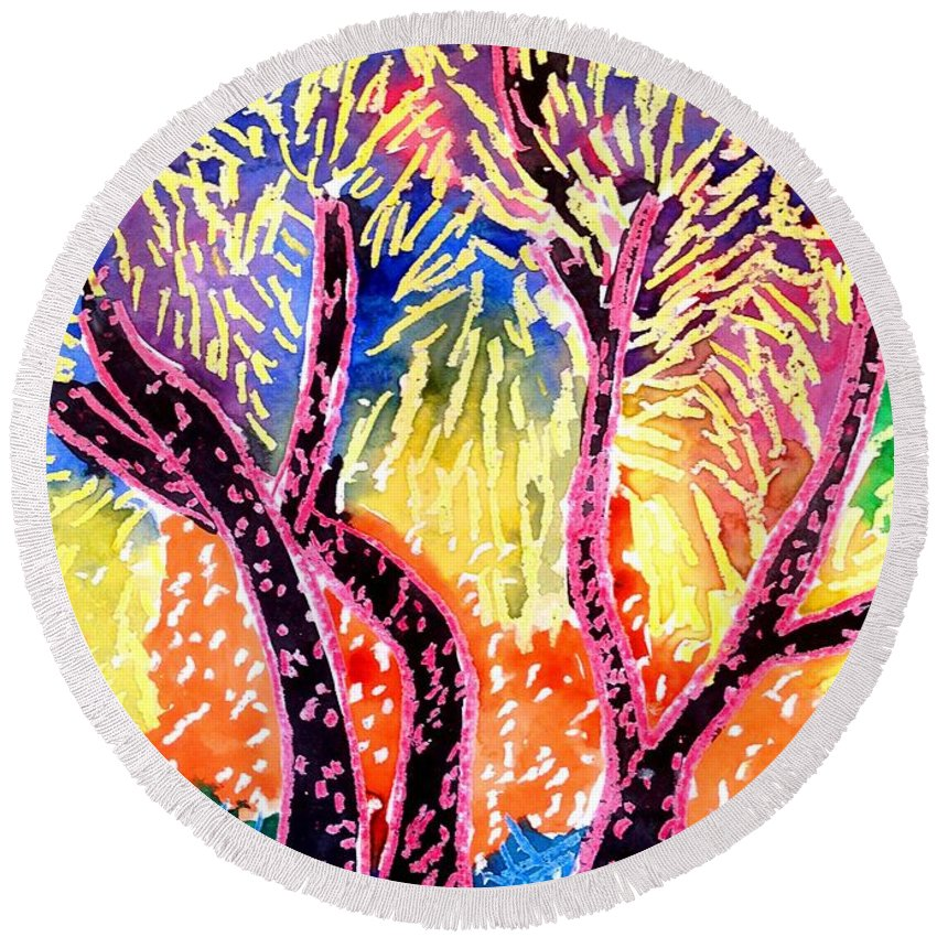 Trees Round Beach Towel featuring the drawing Trees In Summer by Jean Stark