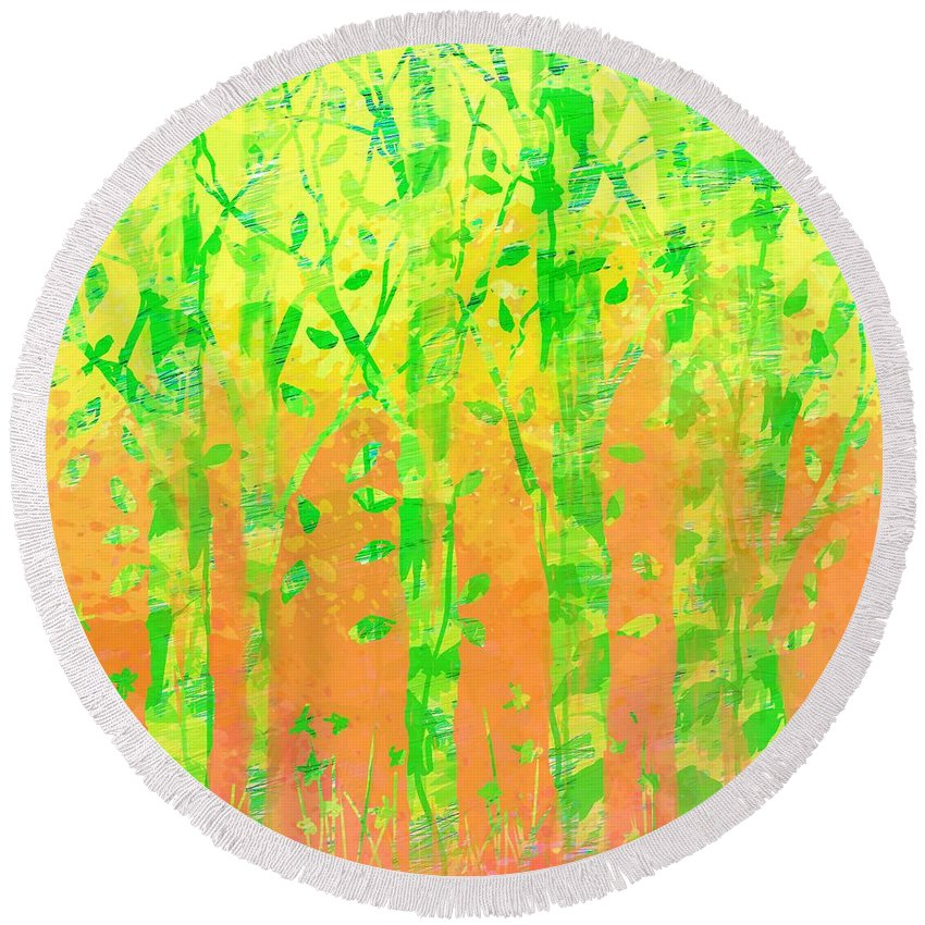 Abstract Round Beach Towel featuring the digital art Trees in the Grass by William Russell Nowicki