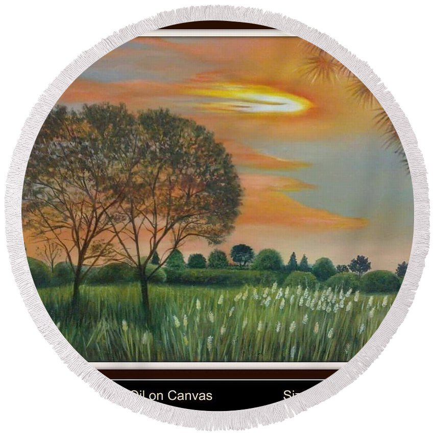 Round Beach Towel featuring the painting Trees by Sumera Saleem