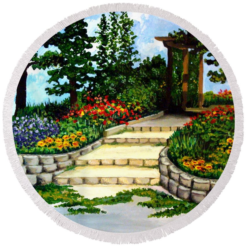 Landscape Round Beach Towel featuring the painting Trellace Gardens by Elizabeth Robinette Tyndall
