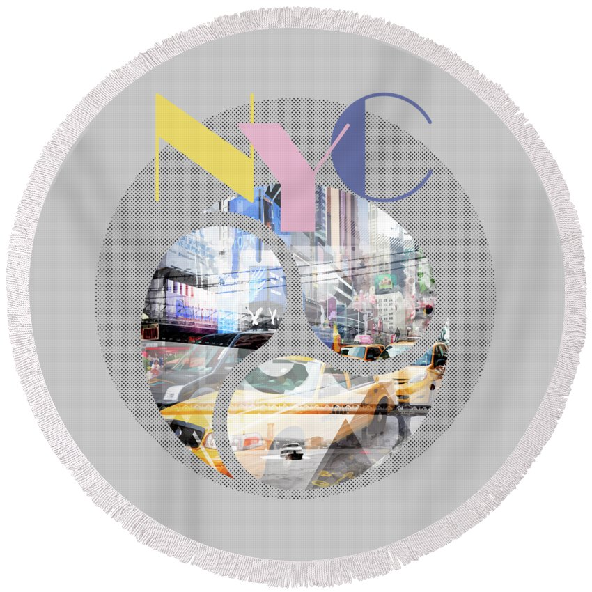 New York City Round Beach Towel featuring the photograph Trendy Design New York City Geometric Mix No 1 by Melanie Viola
