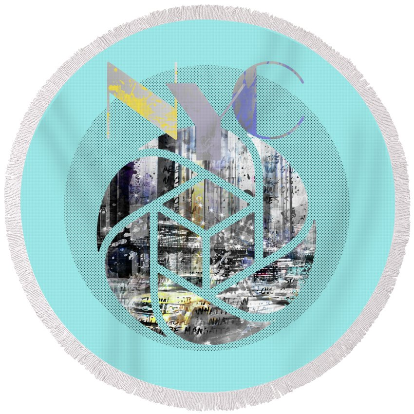 New York City Round Beach Towel featuring the photograph Trendy Design New York City Geometric Mix No 4 by Melanie Viola