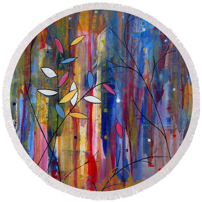 Abstract Round Beach Towel featuring the painting Tres Jolie by Ruth Palmer