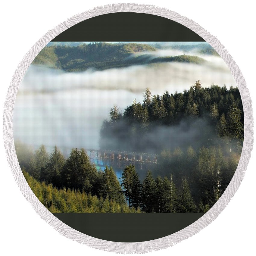 Oregon Round Beach Towel featuring the photograph Trestle In Fog by Katie Wing Vigil