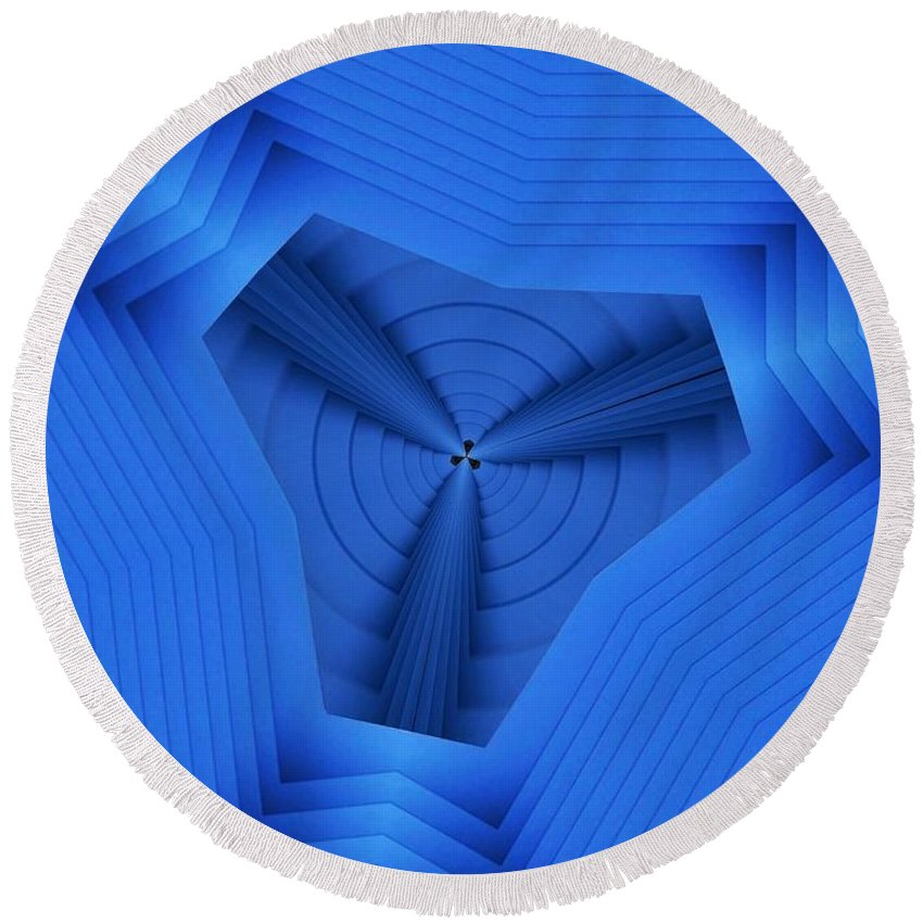 Boiling Round Beach Towel featuring the digital art Tri Blues by Ron Bissett