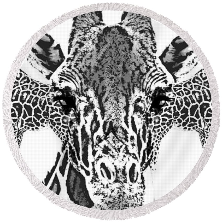 Animal Round Beach Towel featuring the digital art Tri-giraffe Is Always Better by Helena Bendala