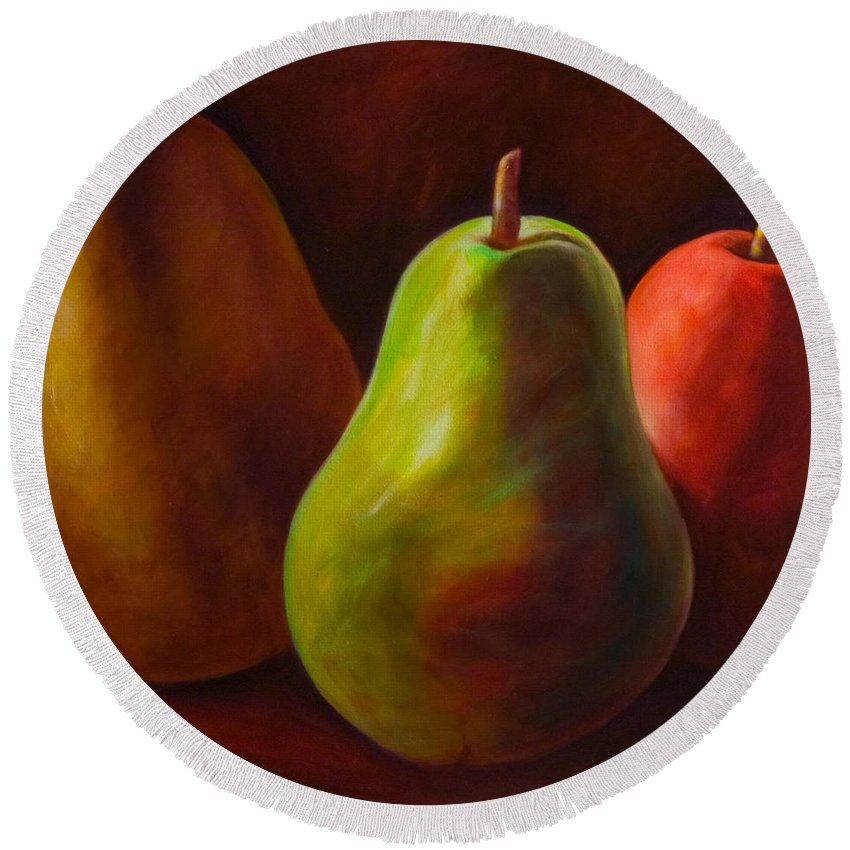 Fruit Round Beach Towel featuring the painting Tri Pear by Shannon Grissom