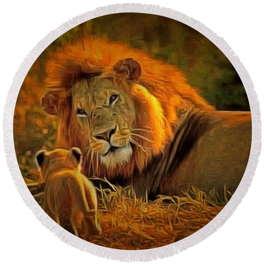 Cecil Round Beach Towel featuring the painting Tribute To Cecil by Leonardo Digenio