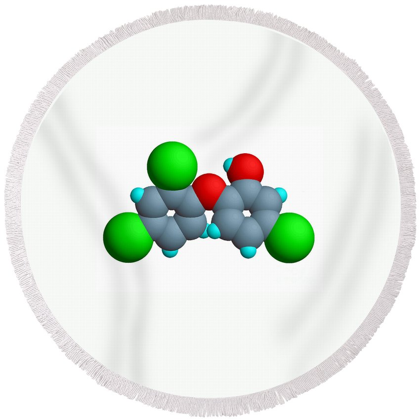 Triclosan Round Beach Towel featuring the photograph Triclosan Molecule by Scimat