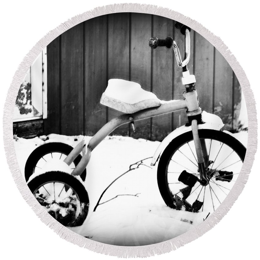 Tricycle Round Beach Towel featuring the photograph Tricycle by Tiffany Stalker
