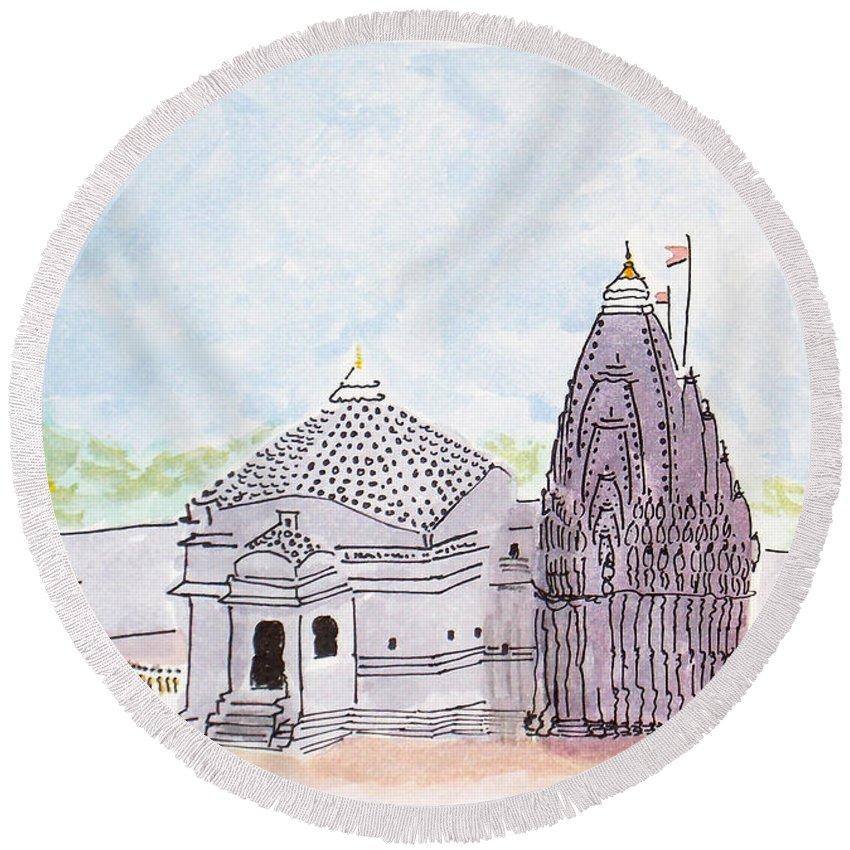 Trimbakeshwar Round Beach Towel featuring the painting Trimbakeshwar Jyotirlinga by Keshava Shukla