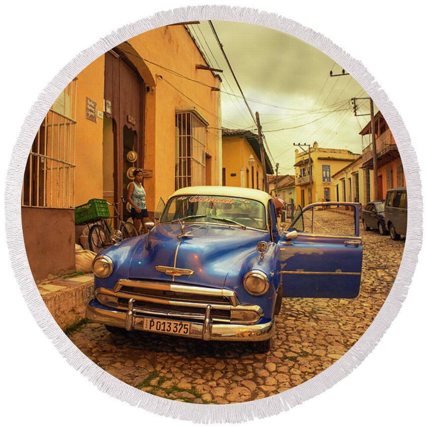 Trinidad Round Beach Towel featuring the photograph Trinidad Chevy Blues by Rob Hawkins
