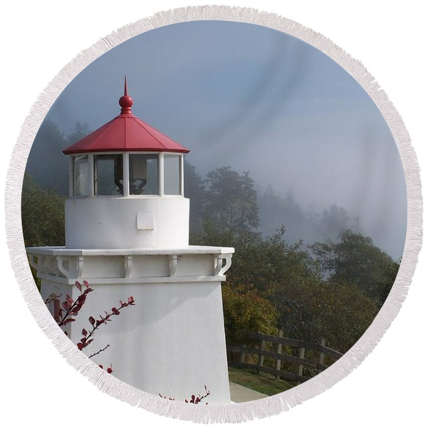 Lighthouse Round Beach Towel featuring the photograph Trinidad Head Lighthouse by Gale Cochran-Smith