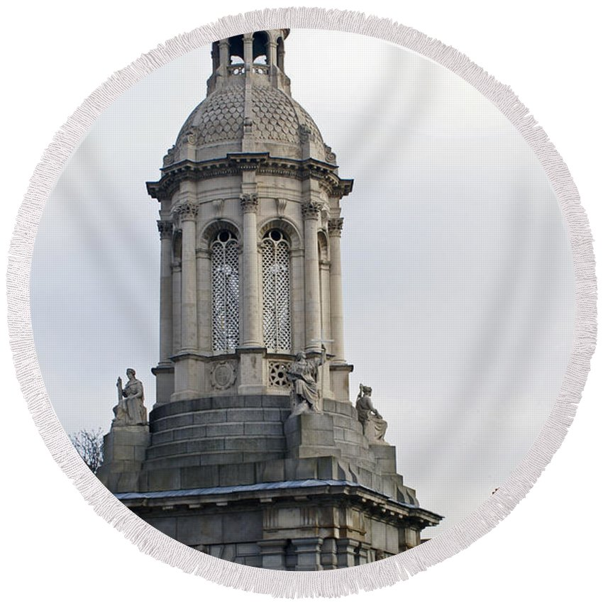 Trinity College Round Beach Towel featuring the photograph Trinity College Dublin by Maria Keady