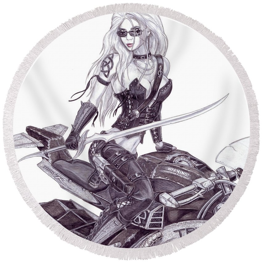 #femme Fatale Round Beach Towel featuring the drawing Trinity by Kristopher VonKaufman