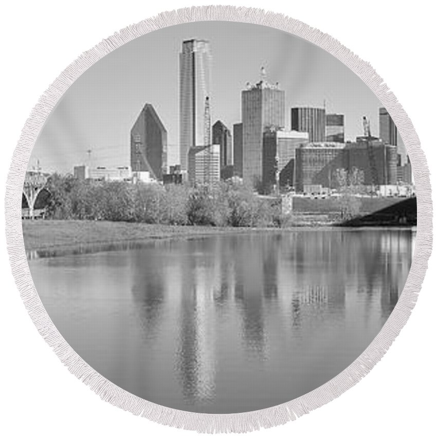 Dallas Round Beach Towel featuring the photograph Trinity River Panorama by Frozen in Time Fine Art Photography