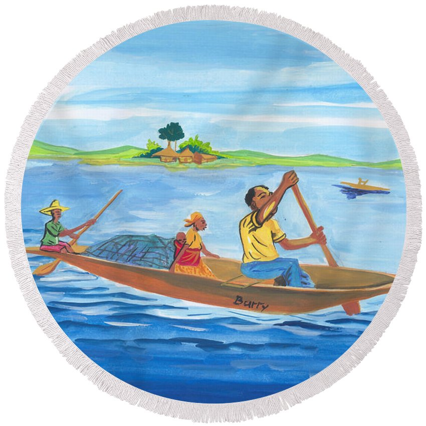 Landscapes Round Beach Towel featuring the painting Trip To Lake Kivu In Congo by Emmanuel Baliyanga