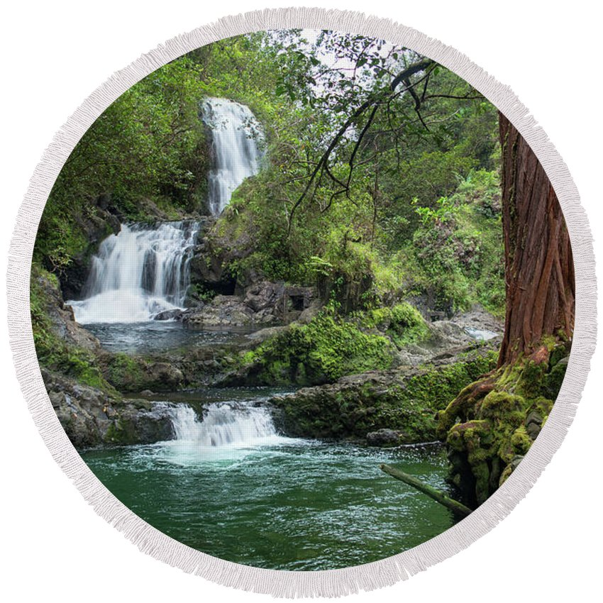 Maui Round Beach Towel featuring the photograph Triple Kopii Falls by RJ Bridges