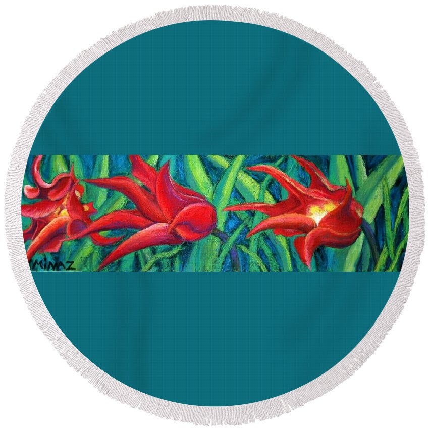 Tulips Round Beach Towel featuring the painting Triple Tease Tulips by Minaz Jantz