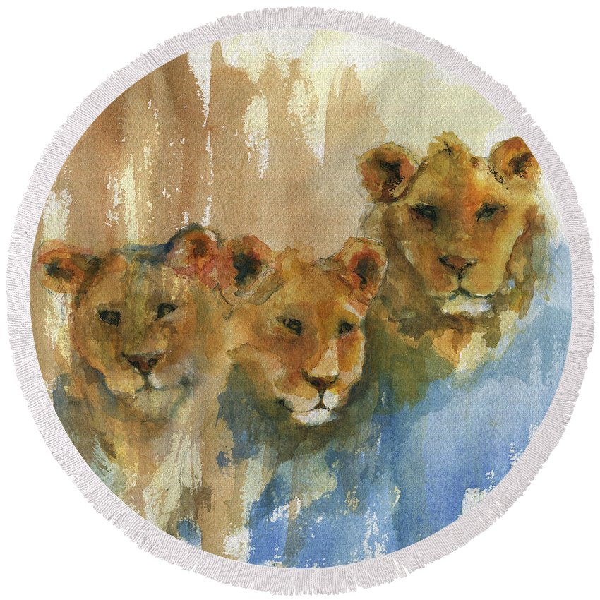 Lion Round Beach Towel featuring the painting Triplets by Diana Jagitsch