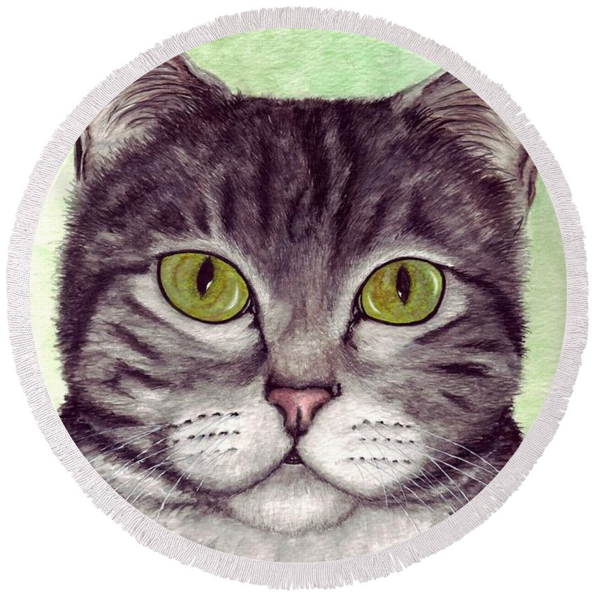 Cat Round Beach Towel featuring the painting Tripper by Kristen Wesch