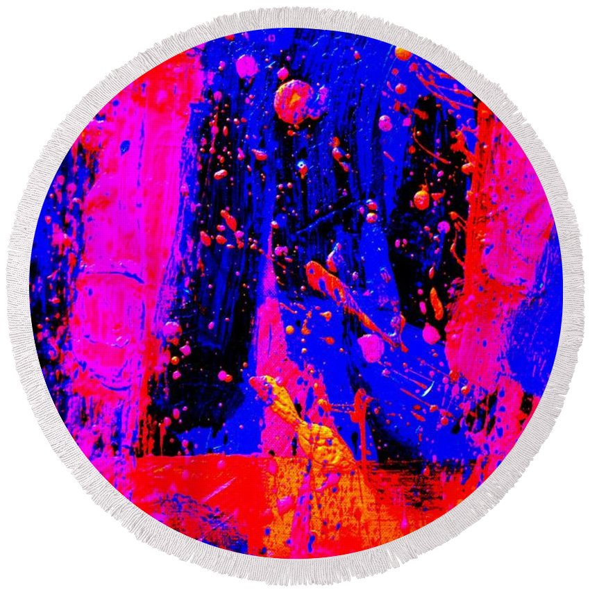Abstract Round Beach Towel featuring the painting Triptych 2 Cropped by John Nolan