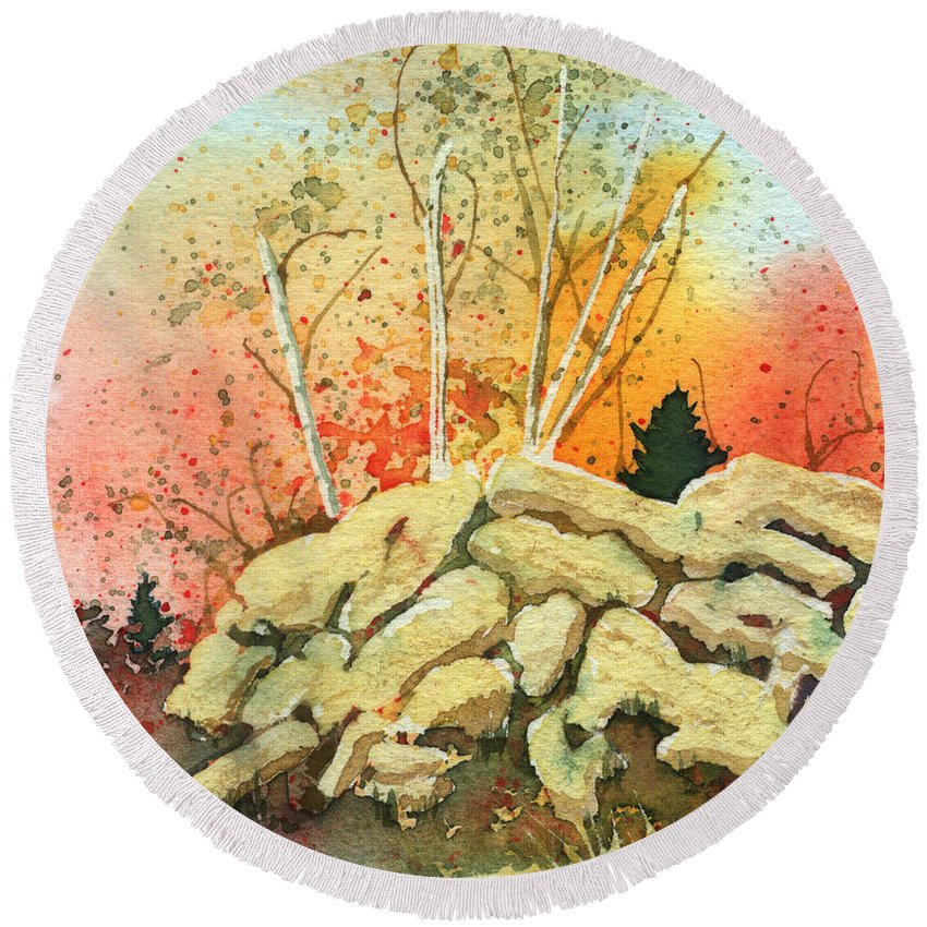 Landscape Round Beach Towel featuring the painting Triptych Panel 2 by Lynn Quinn