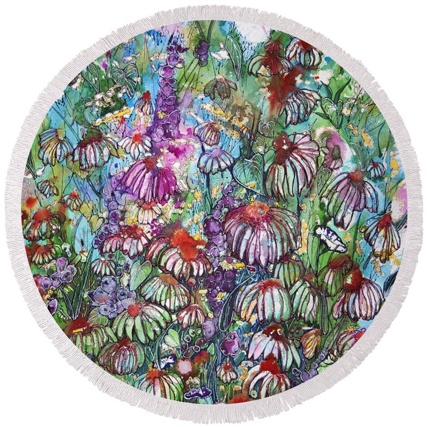 Floral Round Beach Towel featuring the painting Trisha's Dream by Shirley Sykes Bracken