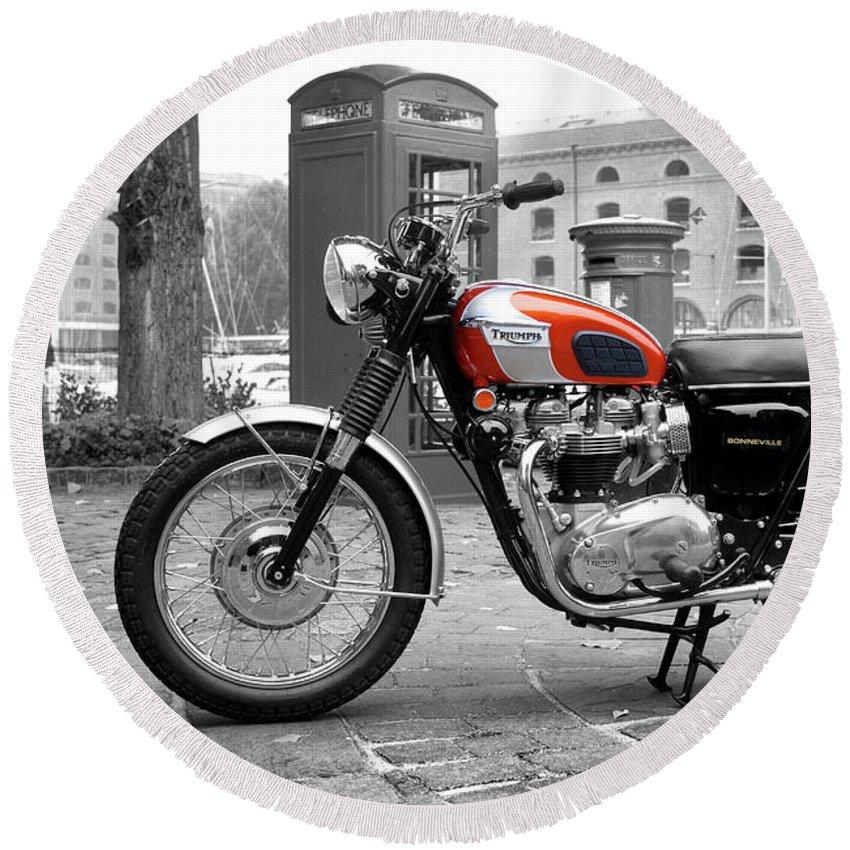 Triumph Bonneville T120 1969 Round Beach Towel For Sale By Mark Rogan