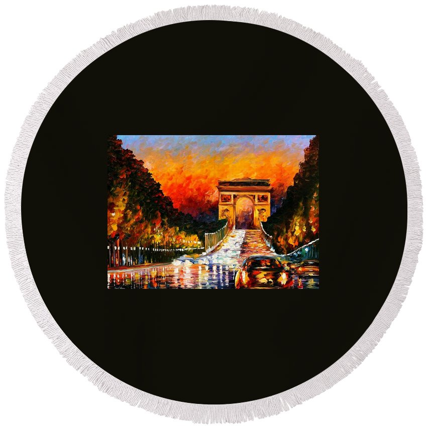 Afremov Round Beach Towel featuring the painting Triumph by Leonid Afremov