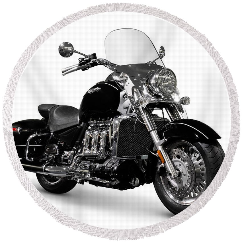 Motorcycle Round Beach Towel featuring the photograph Triumph Rocket IIi Motorcycle by Maxim Images Prints
