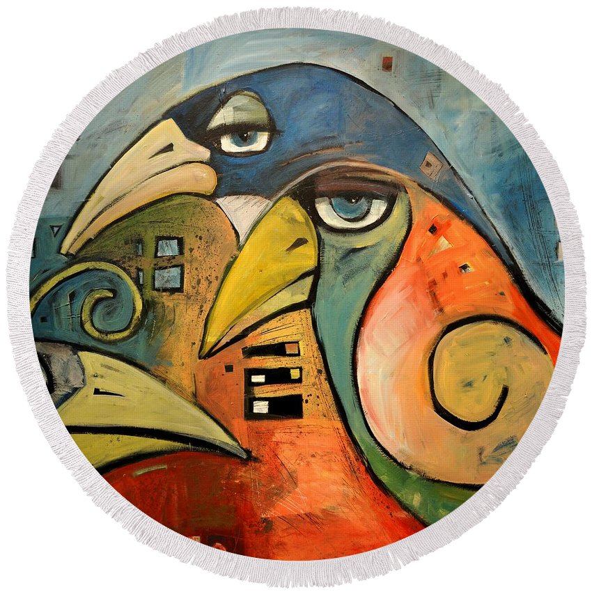 Birds Round Beach Towel featuring the painting Trois Oiseaux by Tim Nyberg