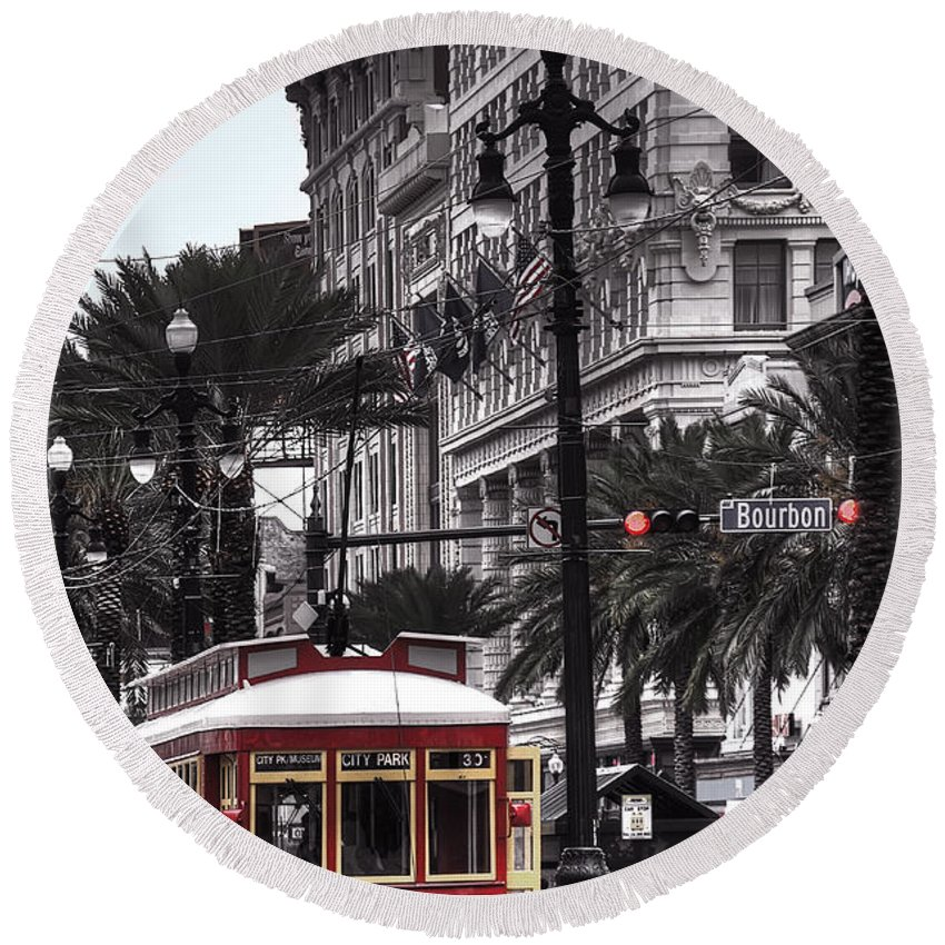 Nola Round Beach Towel featuring the photograph Trolley On Bourbon And Canal by Tammy Wetzel