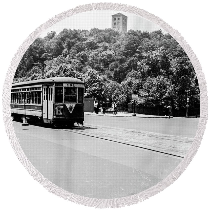 1940's Round Beach Towel featuring the photograph Trolley With Cloisters by Cole Thompson