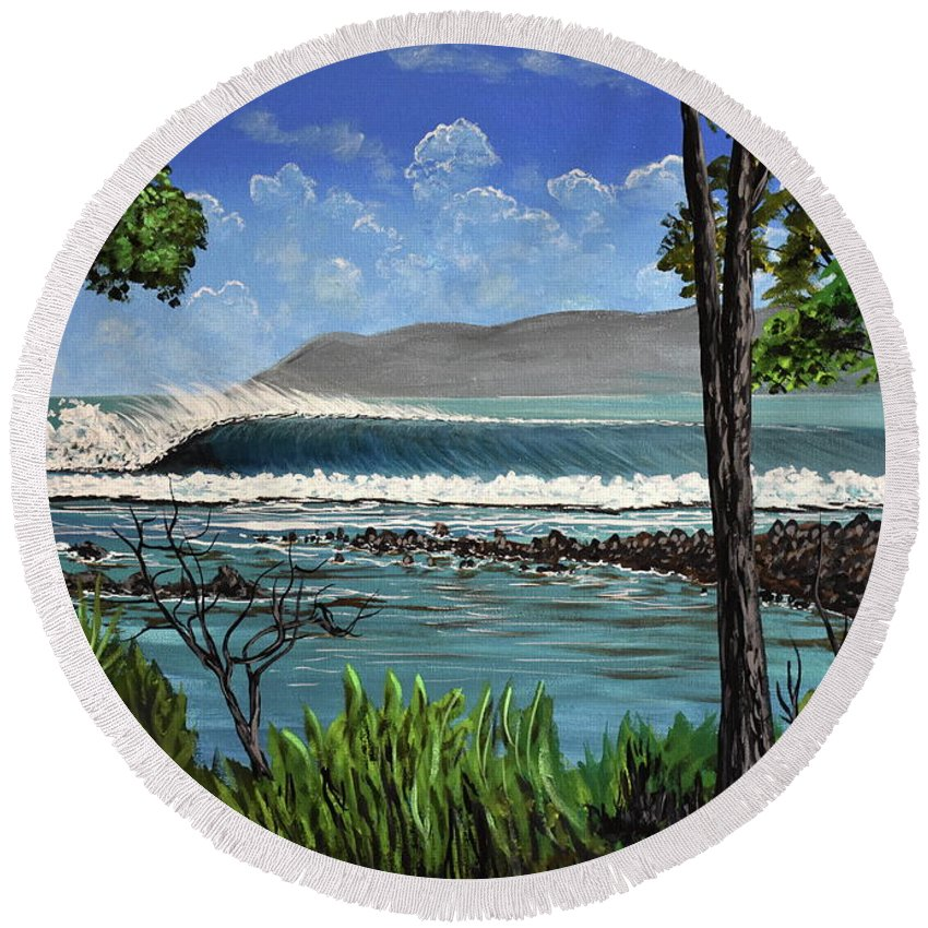 Pavones Round Beach Towel featuring the painting Tropic Vibrations by Marty Calabrese
