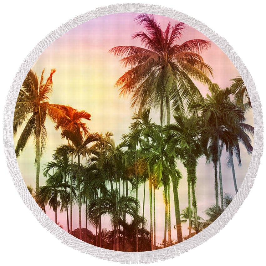 Tropical Round Beach Towel featuring the photograph Tropical 11 by Mark Ashkenazi