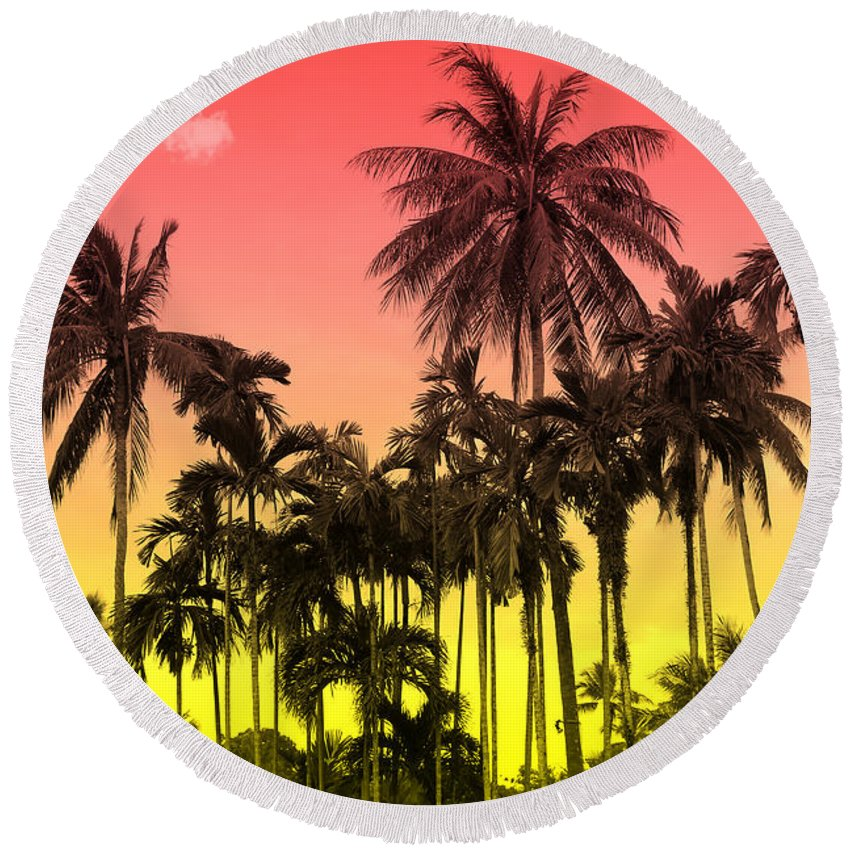 Round Beach Towel featuring the photograph Tropical 9 by Mark Ashkenazi