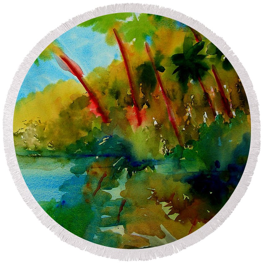 Art Round Beach Towel featuring the painting Tropical Canal by Julianne Felton