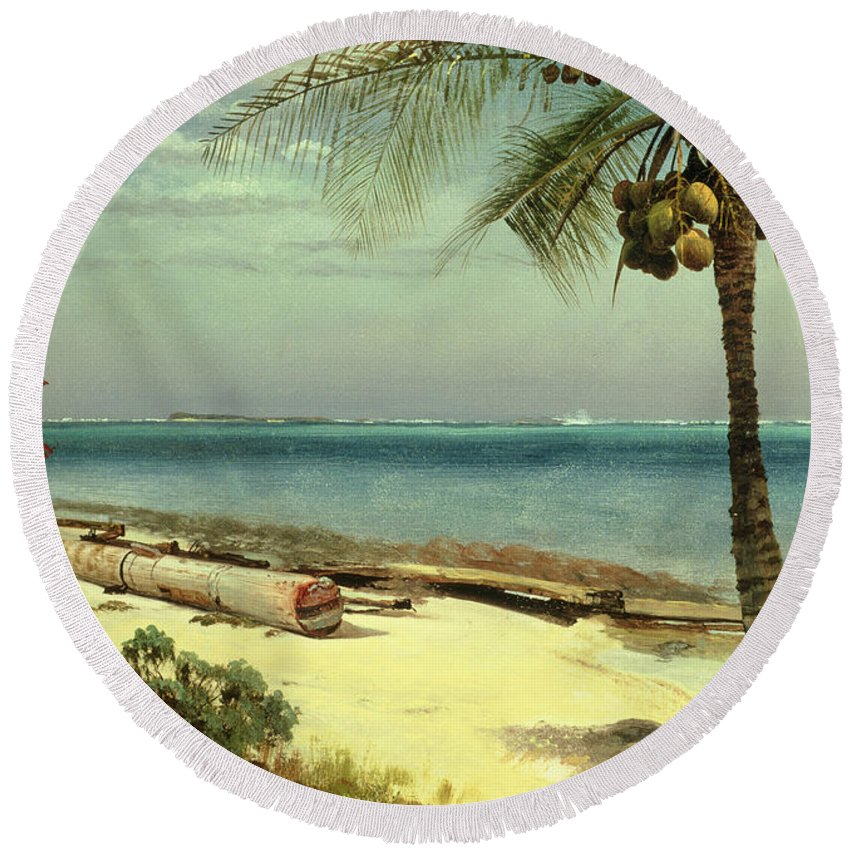 Shore; Exotic; Palm Tree; Coconut; Sand; Beach; Sailing Round Beach Towel featuring the painting Tropical Coast by Albert Bierstadt