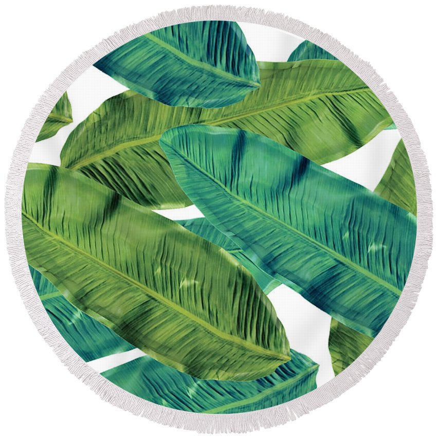 Summer Round Beach Towel featuring the digital art Tropical Colors 2 by Mark Ashkenazi