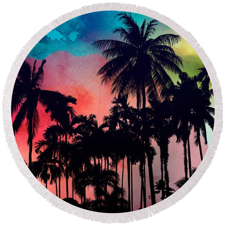 Round Beach Towel featuring the painting Tropical Colors by Mark Ashkenazi