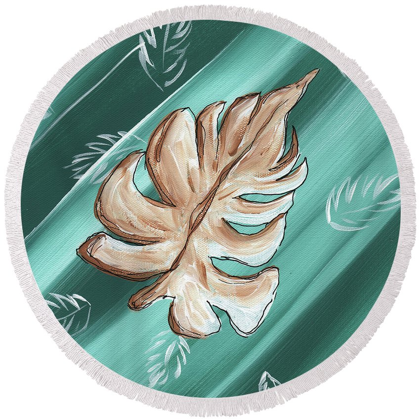 Wall Round Beach Towel featuring the painting Tropical Dance 1 By Madart by Megan Duncanson