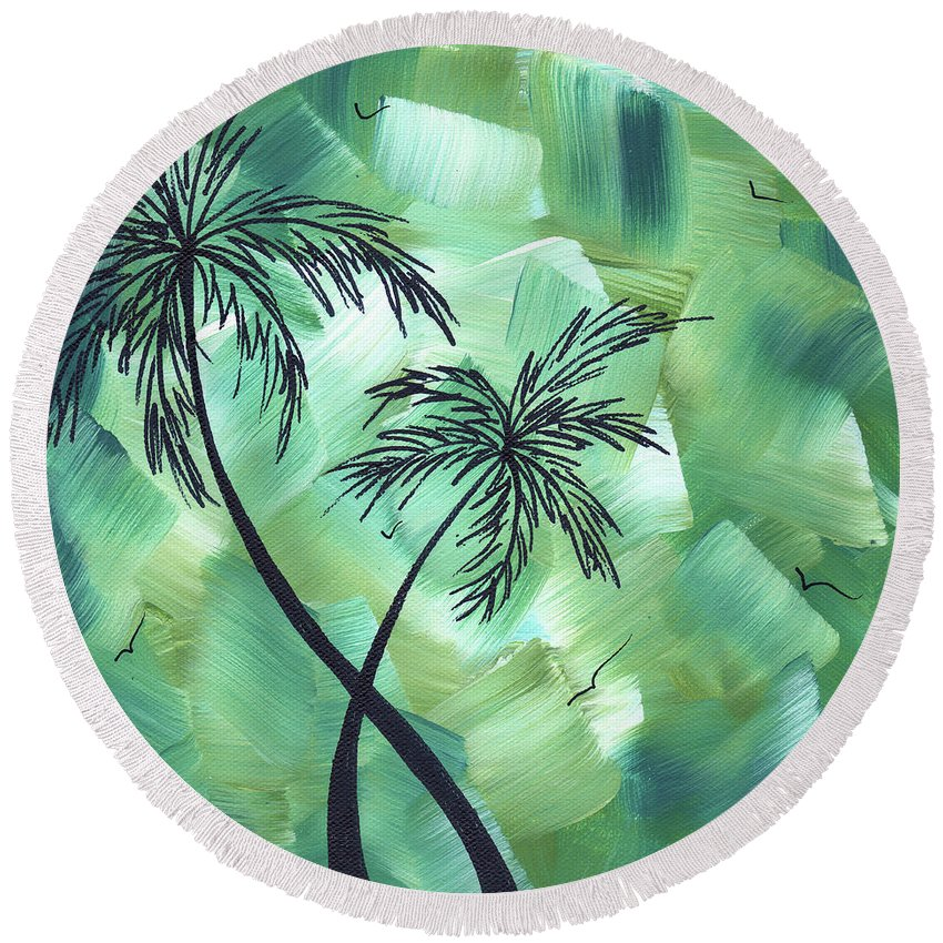 Wall Round Beach Towel featuring the painting Tropical Dance 3 By Madart by Megan Duncanson