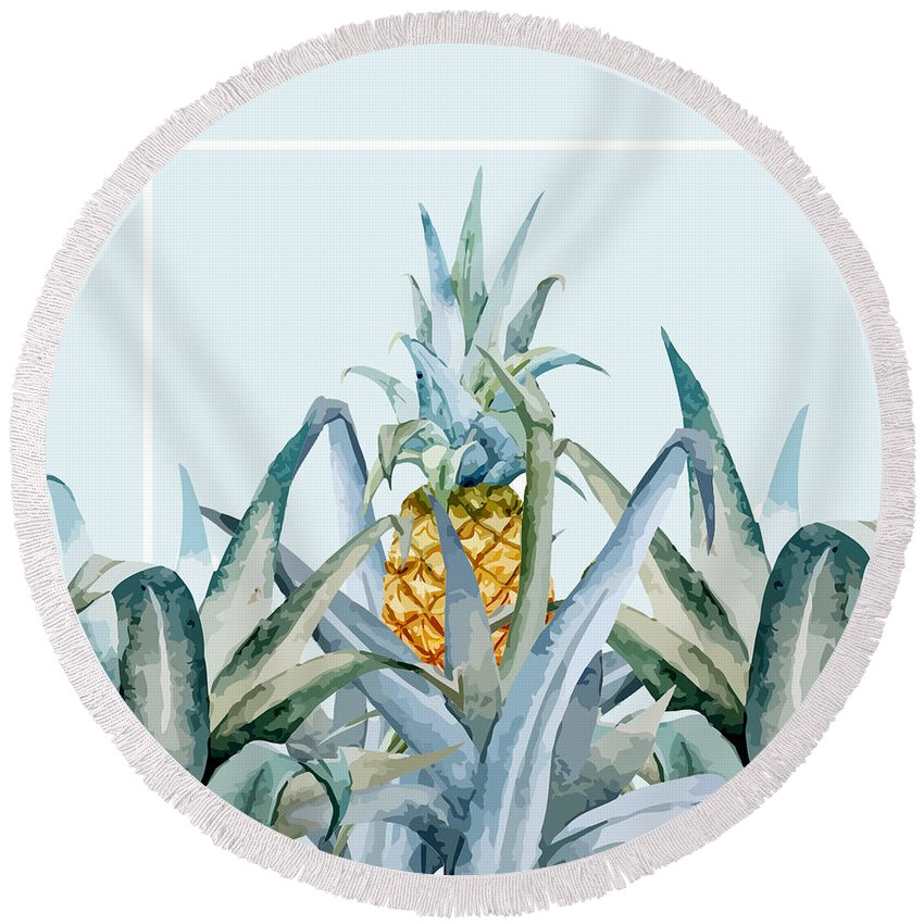 Summer Round Beach Towel featuring the painting Tropical Feeling by Mark Ashkenazi