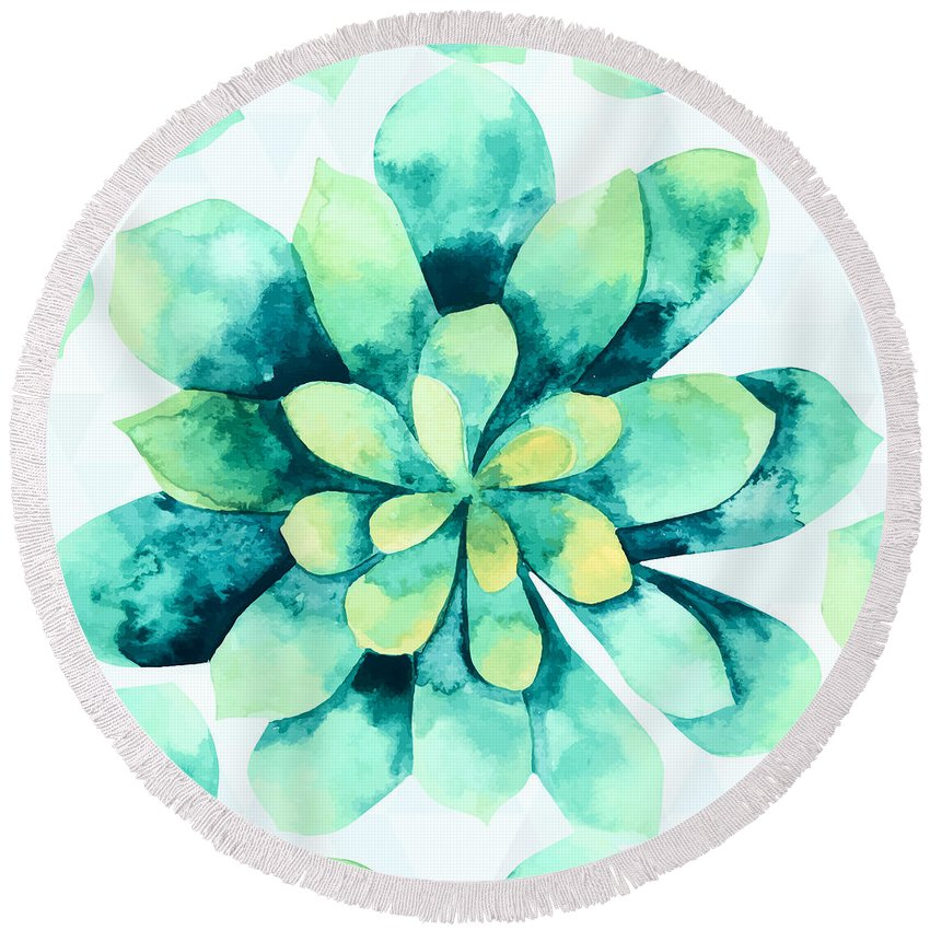 Summer Round Beach Towel featuring the painting Tropical Flower by Mark Ashkenazi