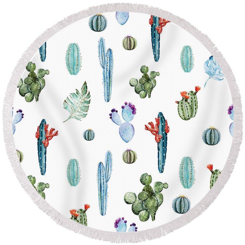 Cactus Round Beach Towels