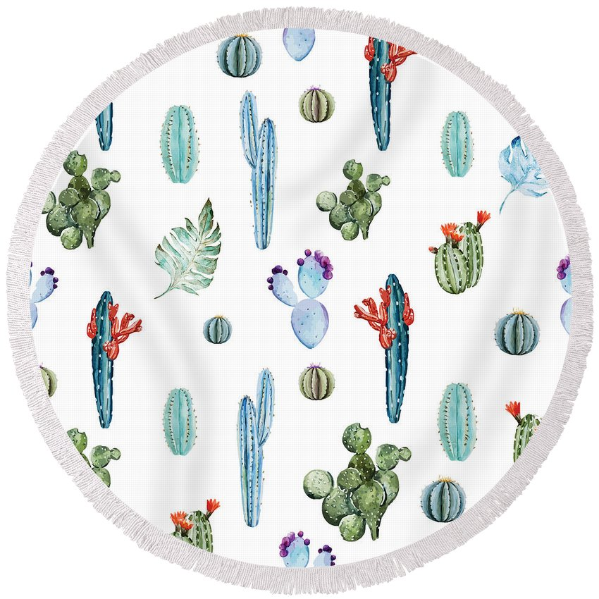 Summer Round Beach Towel featuring the painting Tropical Forever 2 by Mark Ashkenazi