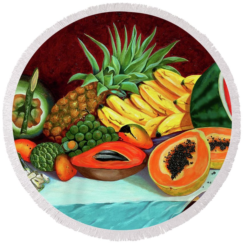 Coconut Round Beach Towel featuring the painting Tropical Fruits by Jose Manuel Abraham