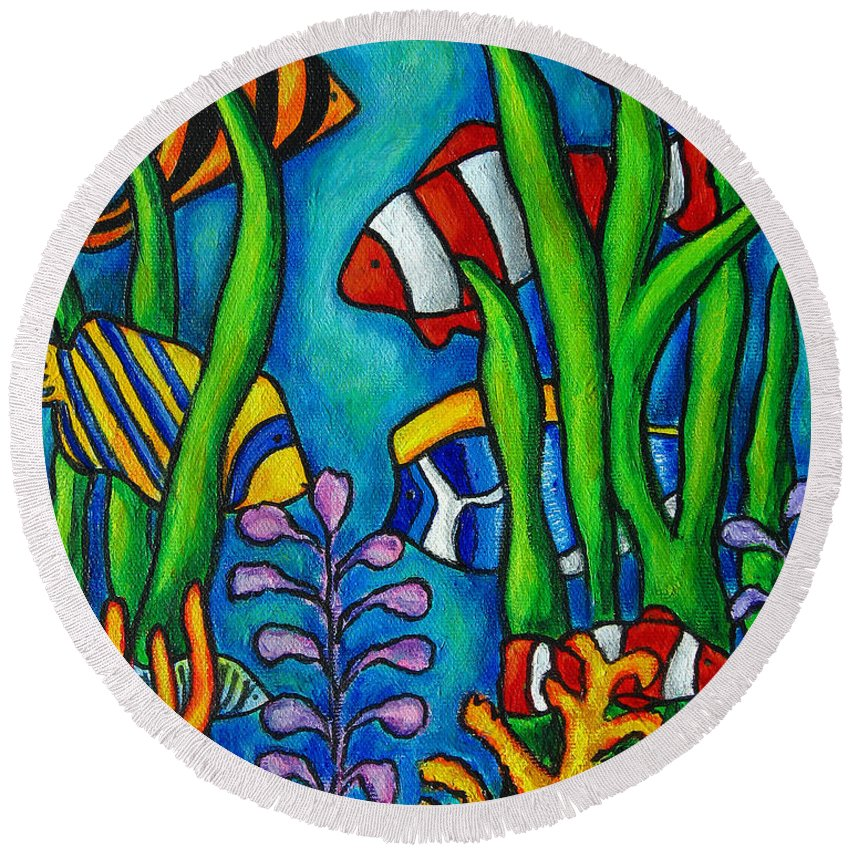 Tropical Round Beach Towel featuring the painting Tropical Gems by Lisa Lorenz