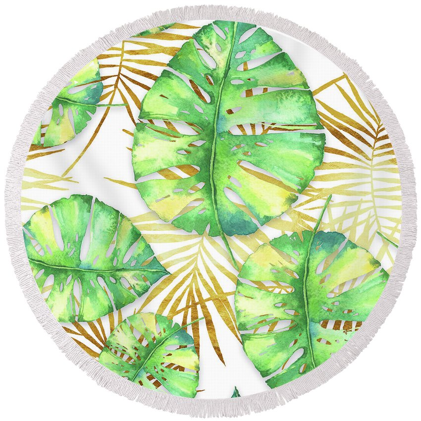 Gold Round Beach Towel featuring the painting Tropical Haze Blanche Variegated Monstera Leaves, Golden Palm Fronds On Black by Tina Lavoie
